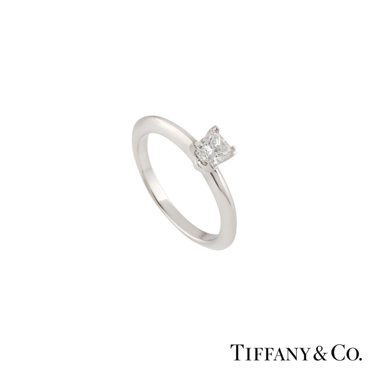 Tiffany & Co. Platinum Princess Cut Diamond Ring 0.34ct E/VVS1